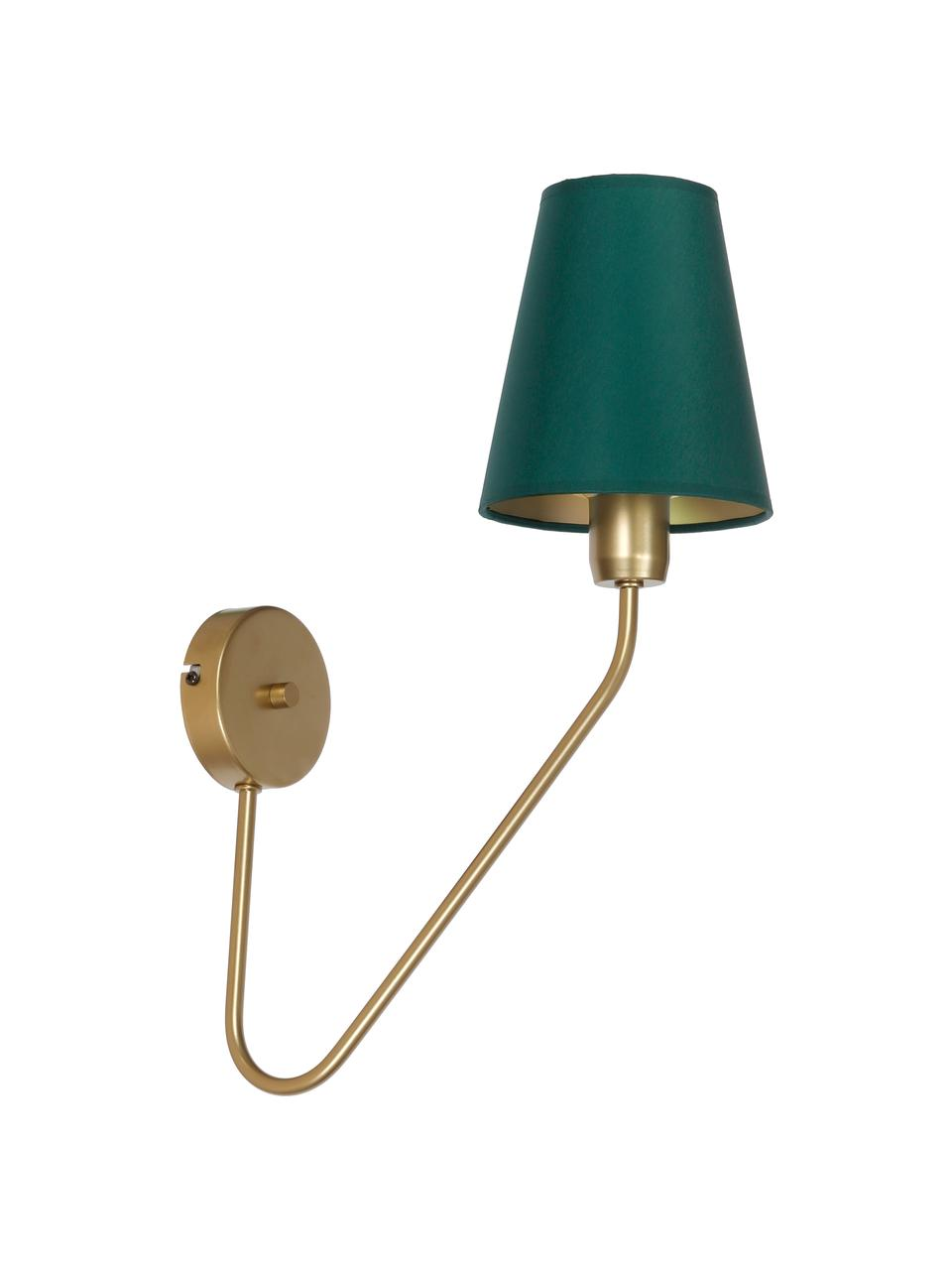 Applique di design Victoria, Paralume: poliestere cotone, Verde, dorato, Larg. 15 x Alt. 50 cm