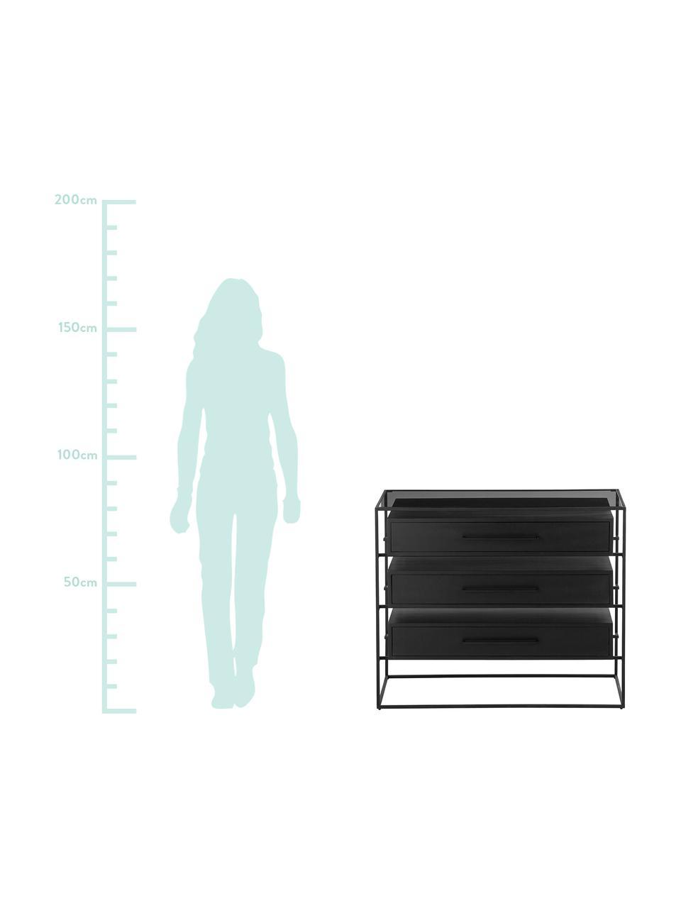 Commode noire plateau en verre Lyle, Tiroirs: manguier, laqué noir Support et poignées: noir, mat Tablette: verre