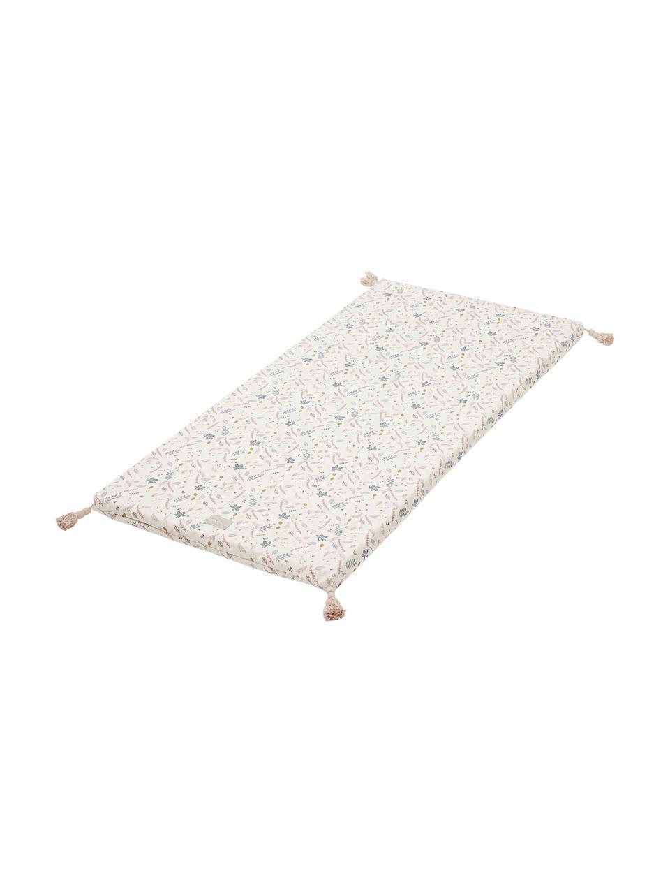 Spielmatte Pressed Leaves aus Bio-Baumwolle, Bezug: 100% Biobaumwolle, OCS-ze, Creme, Rosa, Blau, Grau, Gelb, 60 x 120 cm