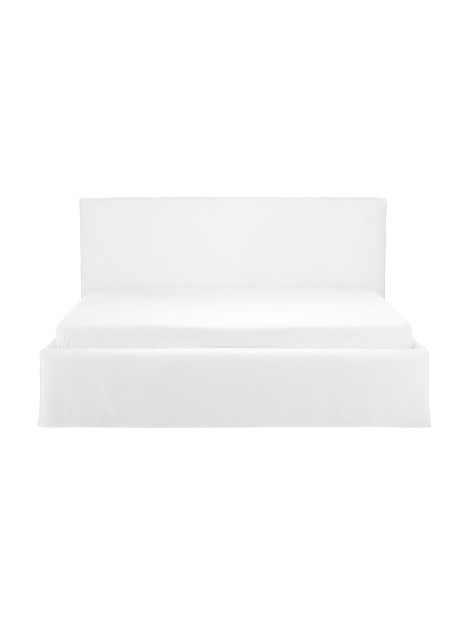 Čalouněná postel súložným prostorem Feather, Krémově bílá