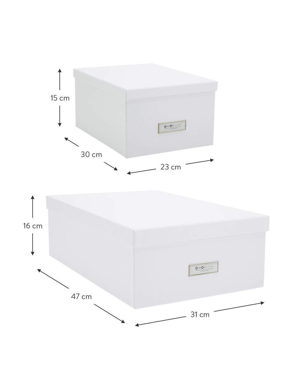 Boîte de rangement Inge, 3élém., Extérieur boîte: blanc Intérieur boîte: blanc