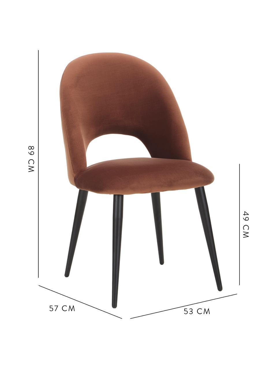 Fluwelen stoel Rachel in bruin, Bekleding: fluweel (hoogwaardig poly, Poten: gepoedercoat metaal, Fluweel bruin, B 53 x D 57 cm