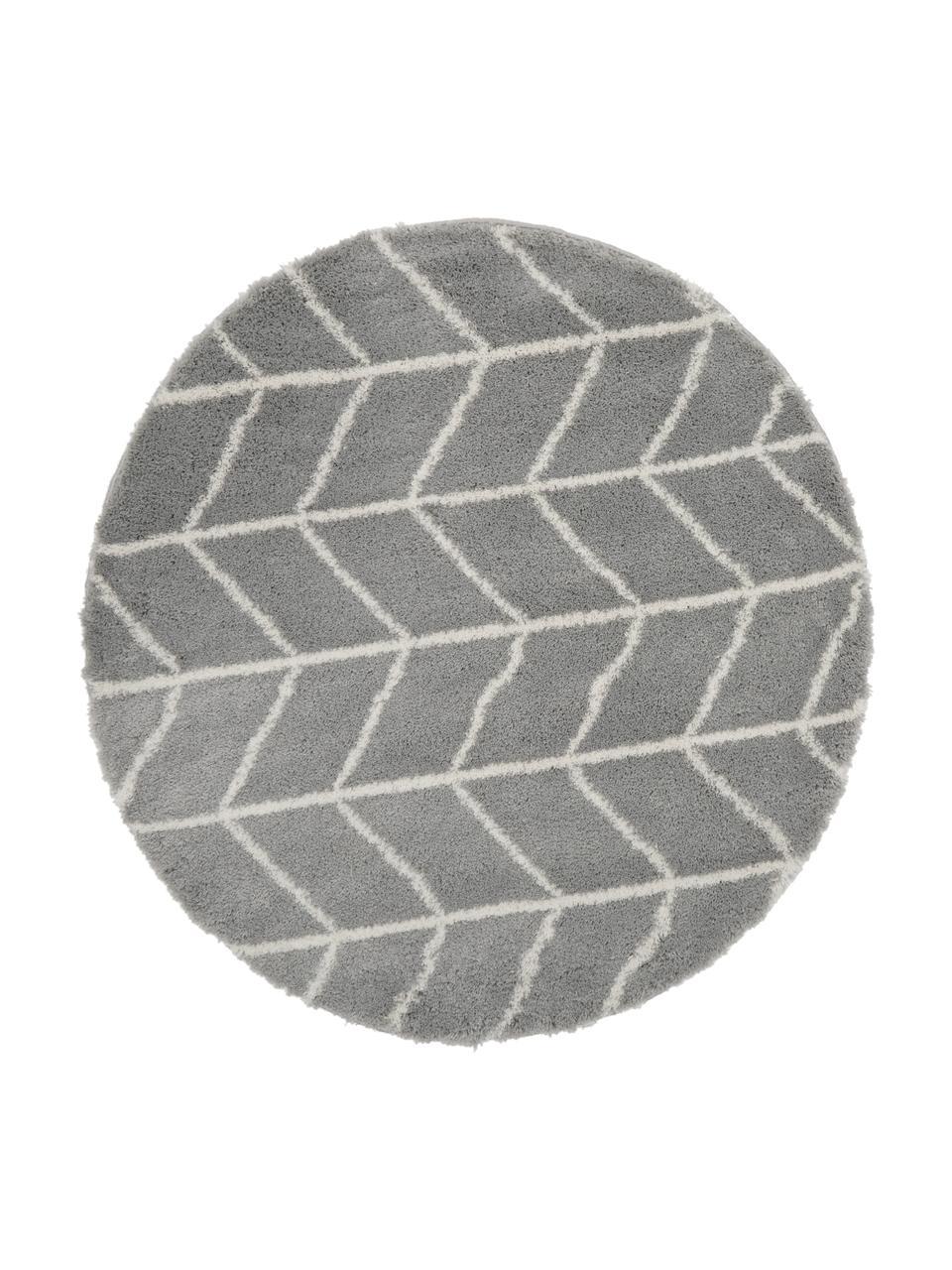 Tappeto soffice a pelo lungo grigio/bianco crema Cera, Retro: 78% juta, 14% cotone, 8% , Grigio, bianco crema, Ø 150 cm (taglia M)
