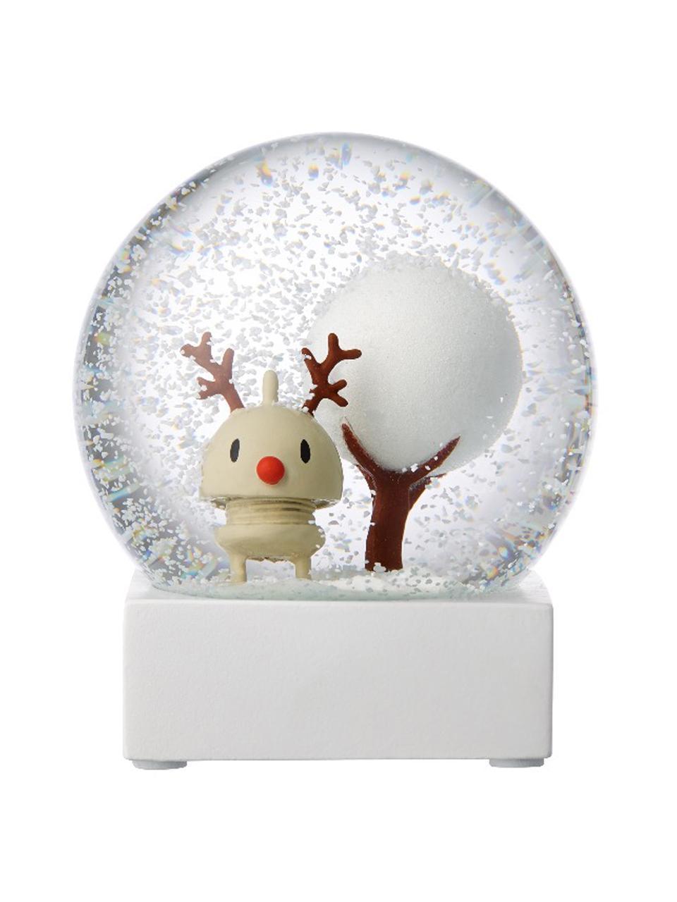 Schneekugel Rudolf, Weiß, Transparent, Ø 10 x H 12 cm