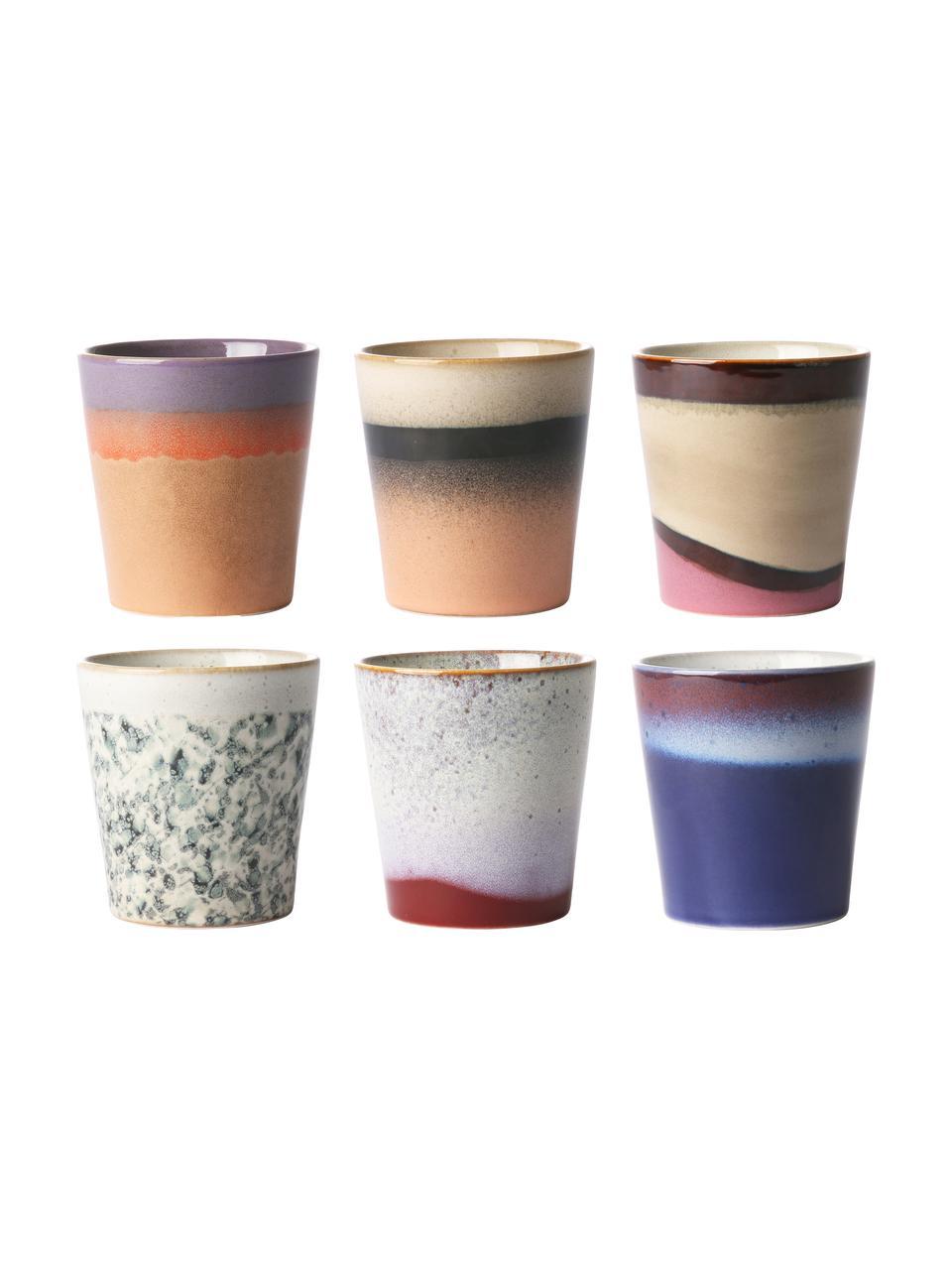 Set 6 tazze retrò senza manico fatte a mano 70's, Ceramica, Multicolore, Ø 8 x Alt. 8 cm