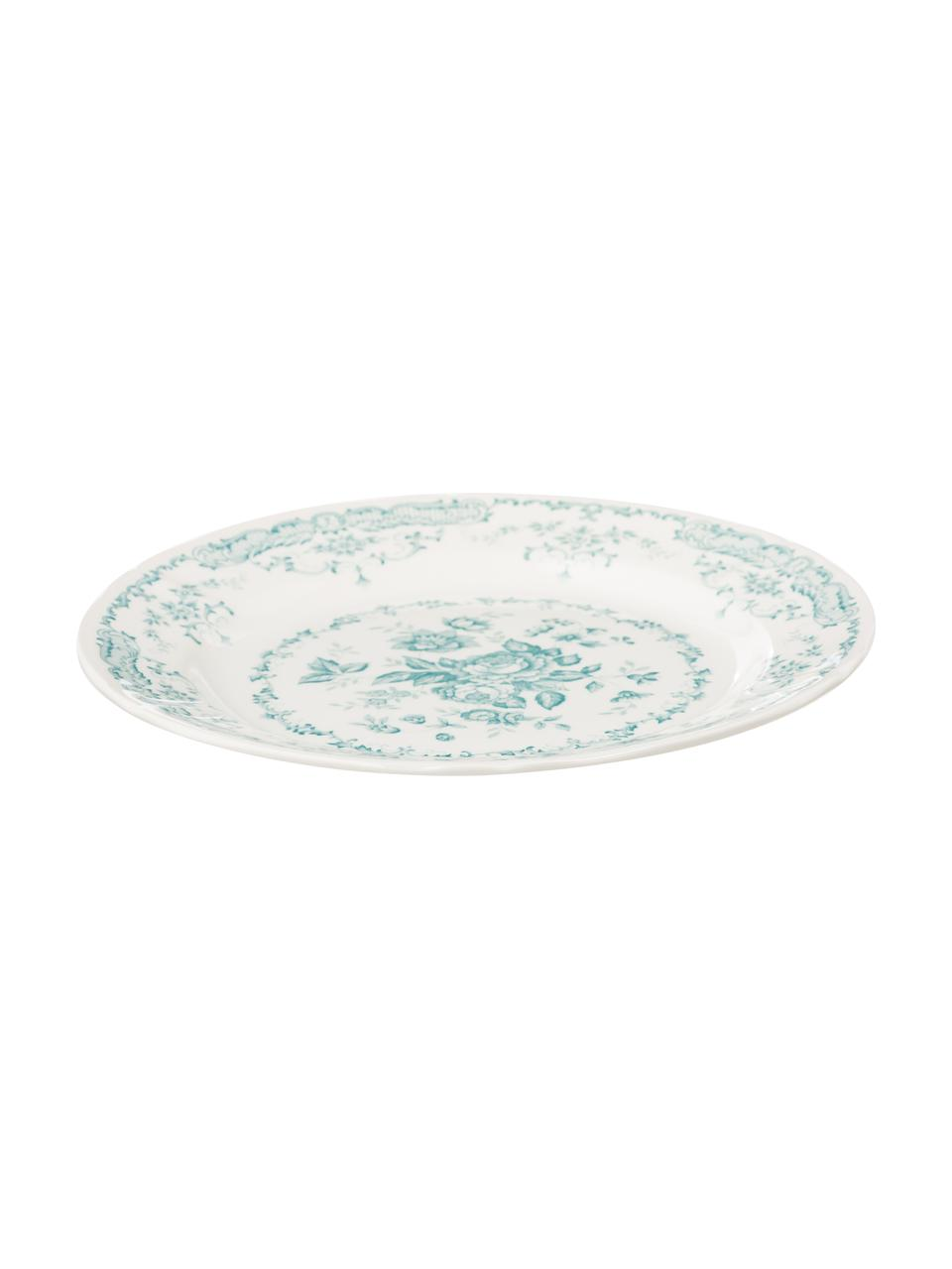 Servizio in porcellana Rose, 18 pz. (6 persone), Ceramica, Bianco, turchese, Set in varie misure