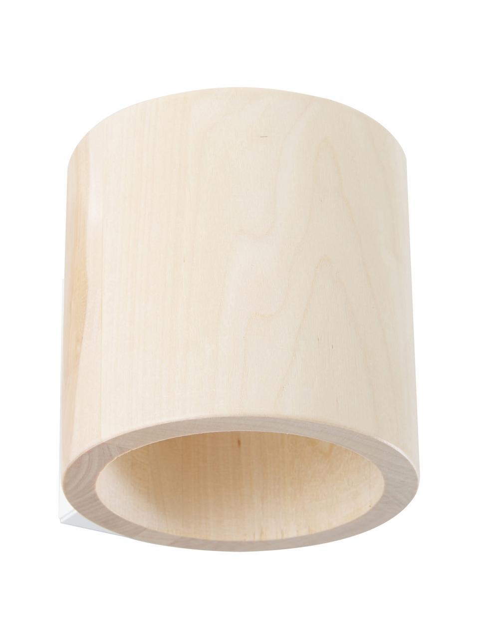 Wandlamp Roda van hout, Lampenkap: hout, Lichtbruin, 10 x 10 cm