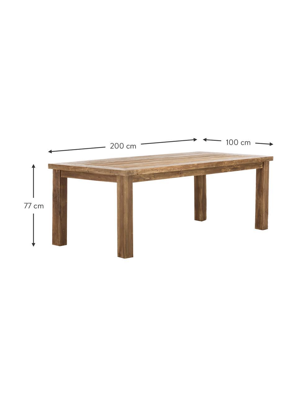 Massivholz Esstisch Bois, Massives Teakholz, unbehandelt, Teak, B 200 x T 100 cm