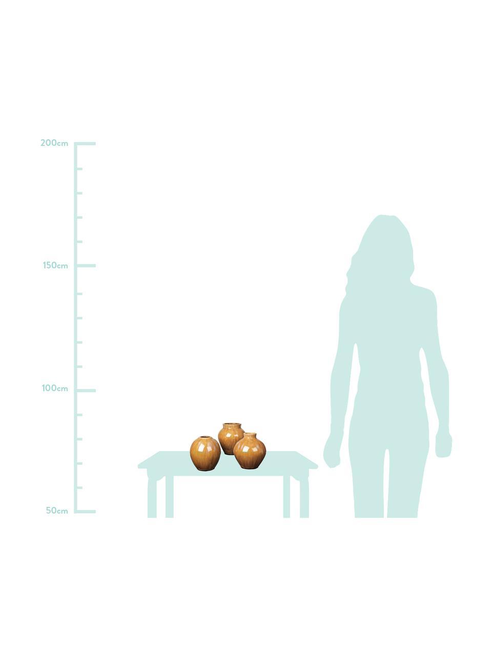 Komplet wazonów z ceramiki Ingrid, 3 elem., Ceramika, Odcienie brązowego, Ø 14 x W 15 cm