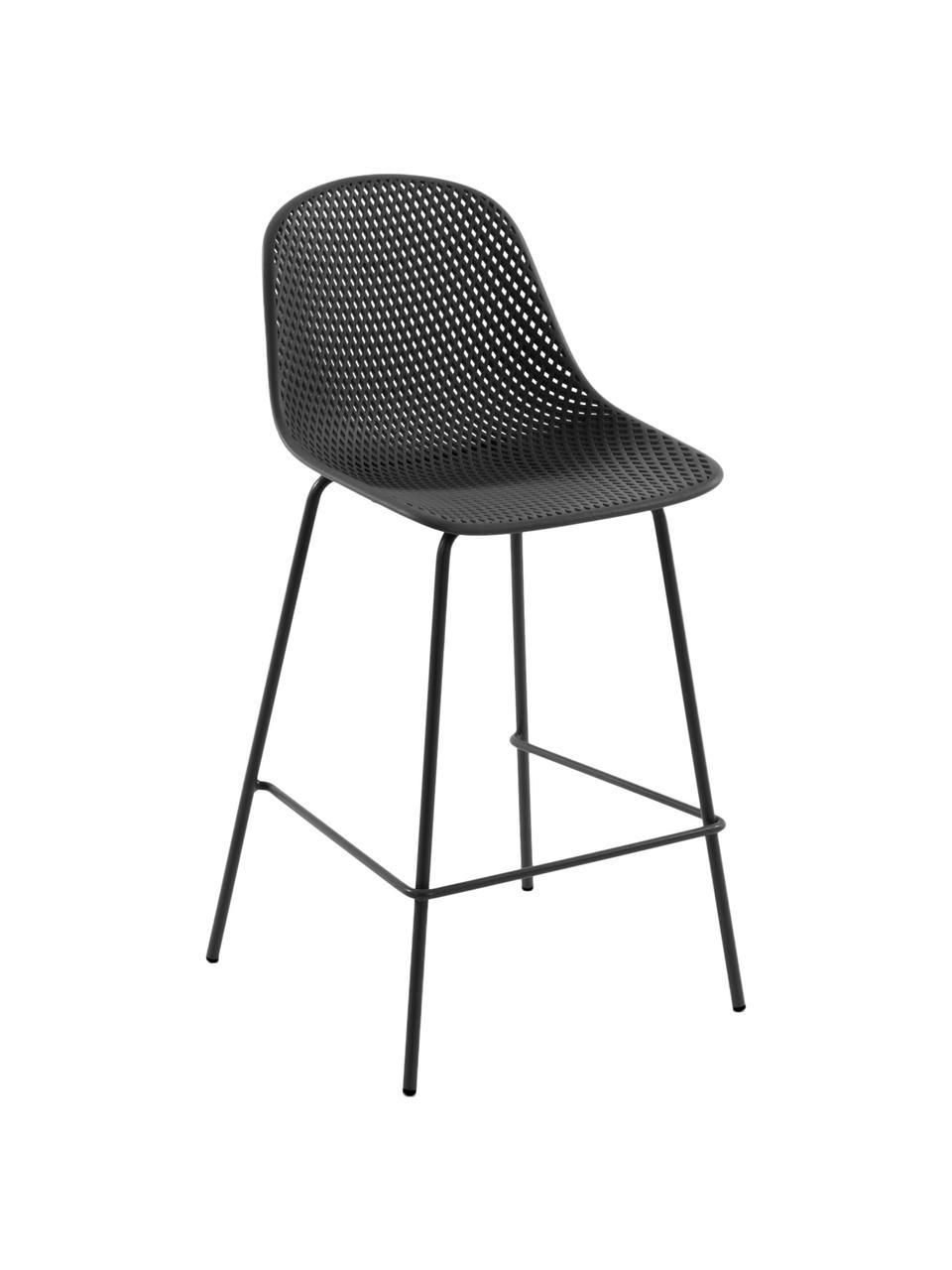 Metall-Barstuhl Quinby in Dunkelgrau, Gestell: Metall, lackiert, Sitzfläche: Kunststoff, lackiert, Dunkelgrau, 48 x 107 cm
