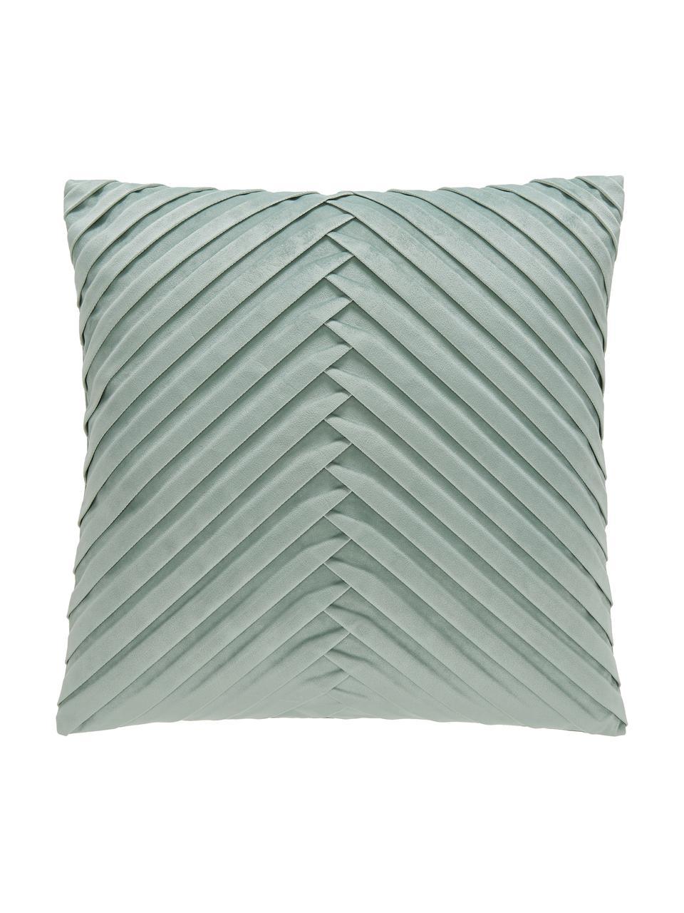 Samt-Kissenhülle Lucie in Salbeigrün mit Struktur-Oberfläche, 100% Samt (Polyester), Salbeigrün, 45 x 45 cm
