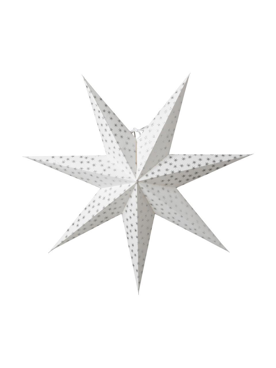 Handgefertigter Weihnachtsstern Asta, Papier, Weiß, Silberfarben, Ø 60 cm