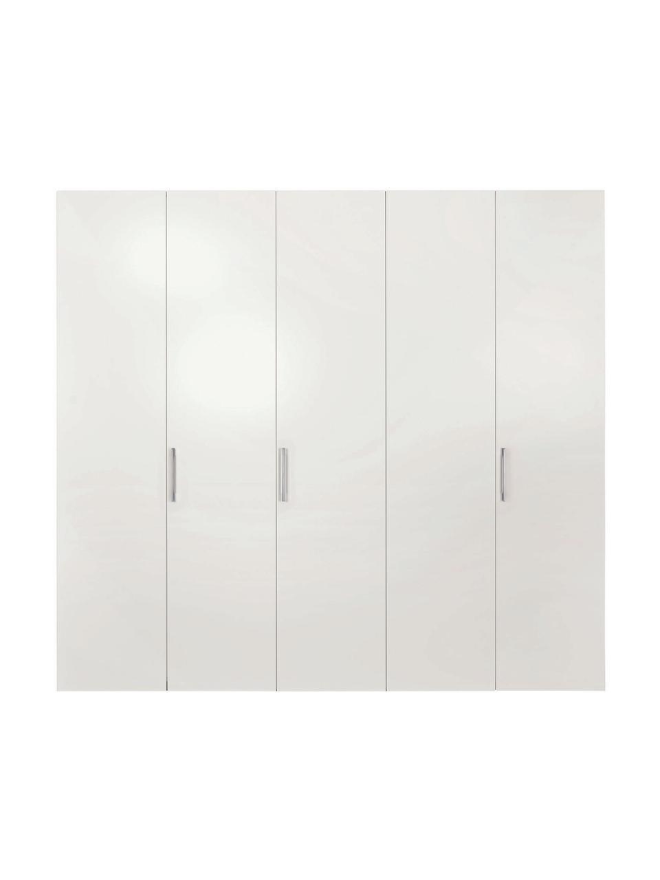 Witte kledingkast Madison, Frame: panelen op houtbasis, gel, Wit, 252 x 230 cm