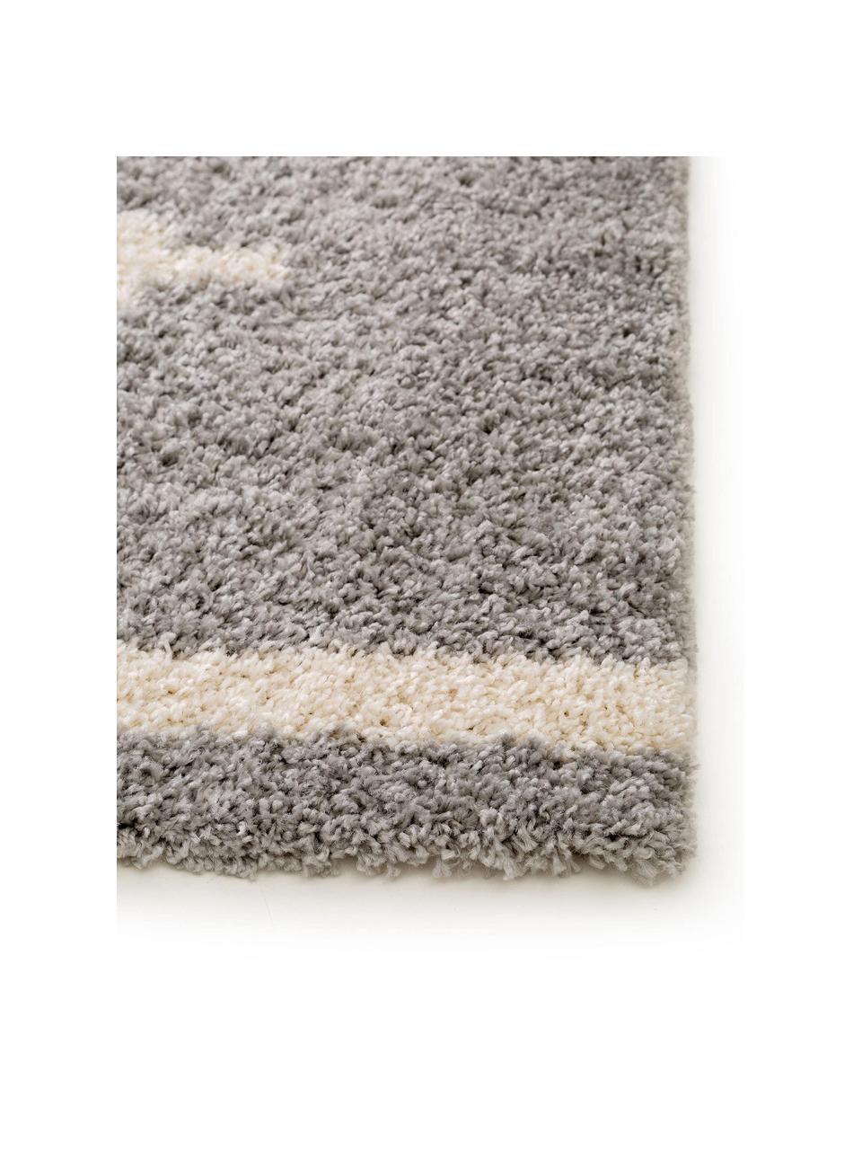 Hoogpolig vloerkleed Selma met grafisch patroon, 100% polypropyleen, Grijs, lichtbeige, B 200 x L 290 cm (maat L)
