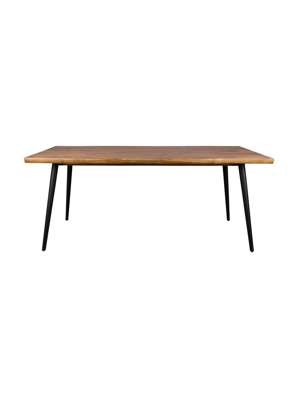 Table à lignes de bois naturel Alagon, Noyer