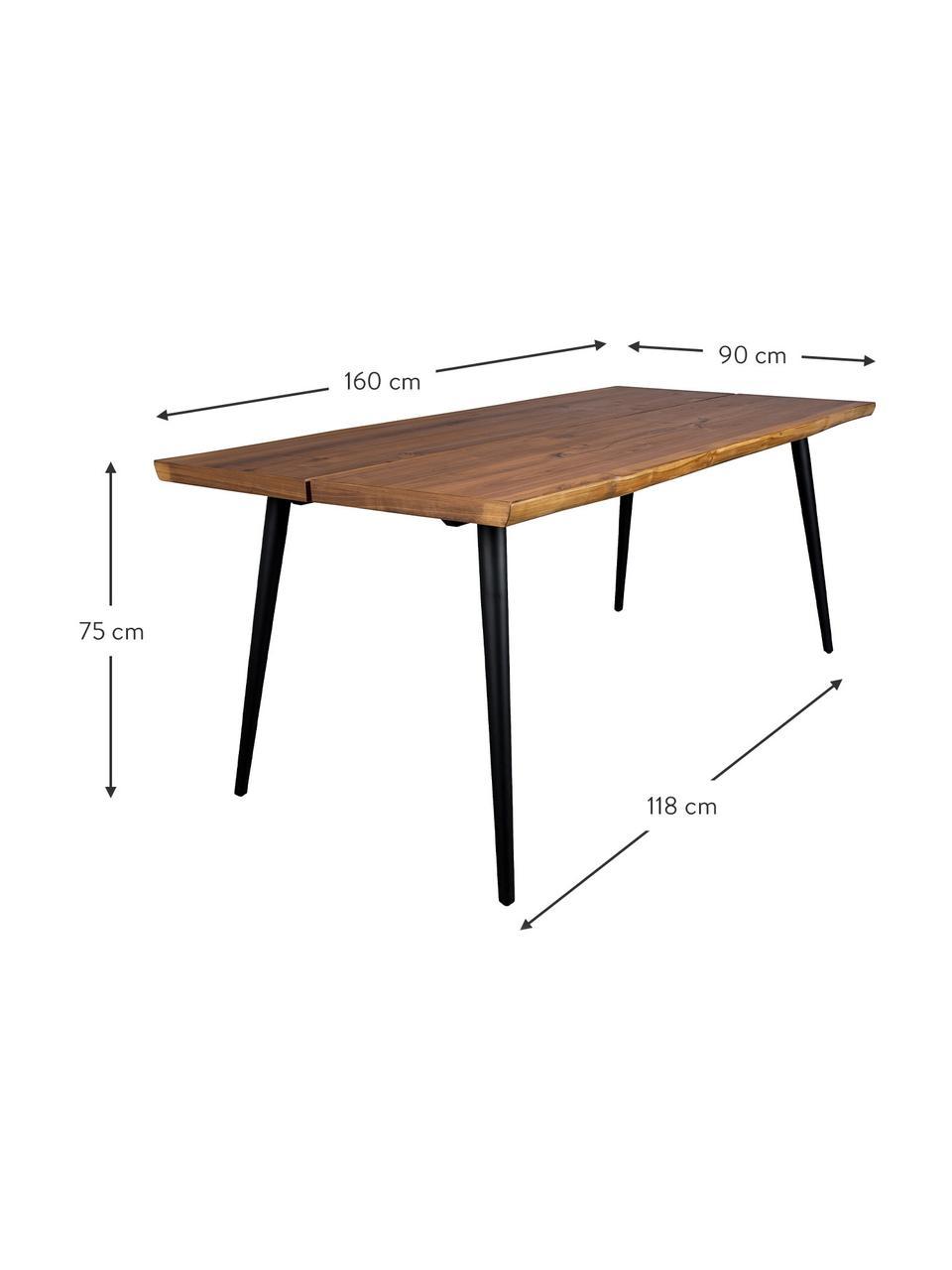 Eettafel Alagon met boomrand, Tafelblad: MDF, gelakt walnoothoutfi, Poten: gepoedercoat staal, Walnootkleurig, 160 x 90 cm