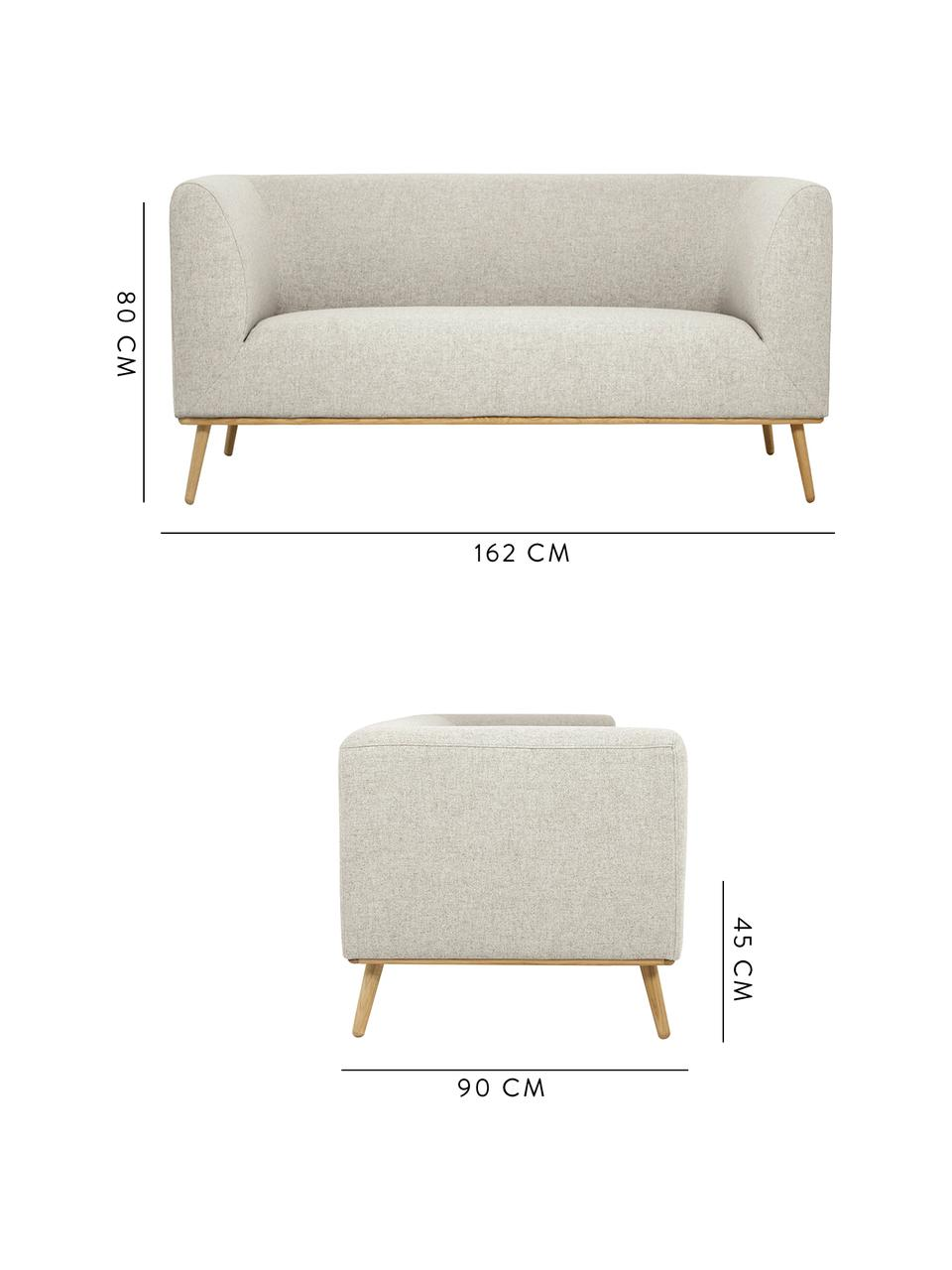 Sofa Archie (2-Sitzer) in Beige mit Eichenholz-Füßen, Bezug: 100% Wolle 30.000 Scheuer, Gestell: Kiefernholz, Füße: Massives Eichenholz, geöl, Webstoff Beige, B 162 x T 90 cm
