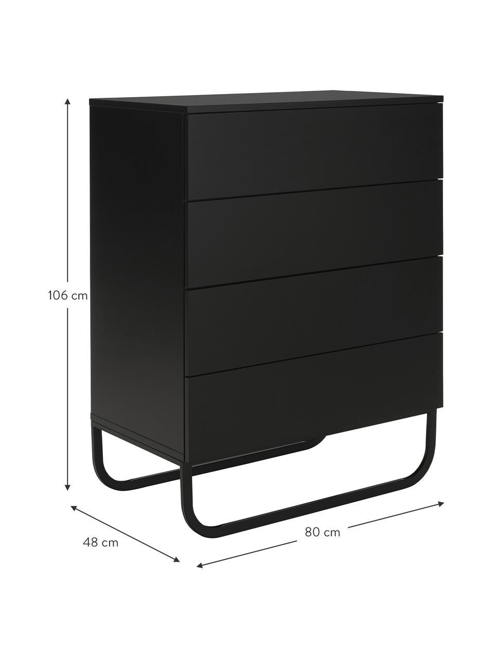 Cassettiera nera Sanford, Nero, Larg. 80 x Alt. 106 cm