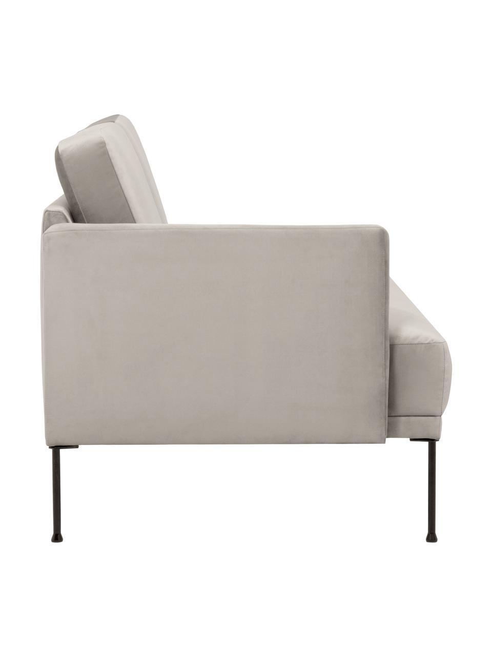 Chaise longue in velluto beige Fluente, Rivestimento: velluto (rivestimento in , Struttura: legno di pino massiccio, Piedini: metallo verniciato a polv, Velluto beige, Larg. 202 x Prof. 85 cm