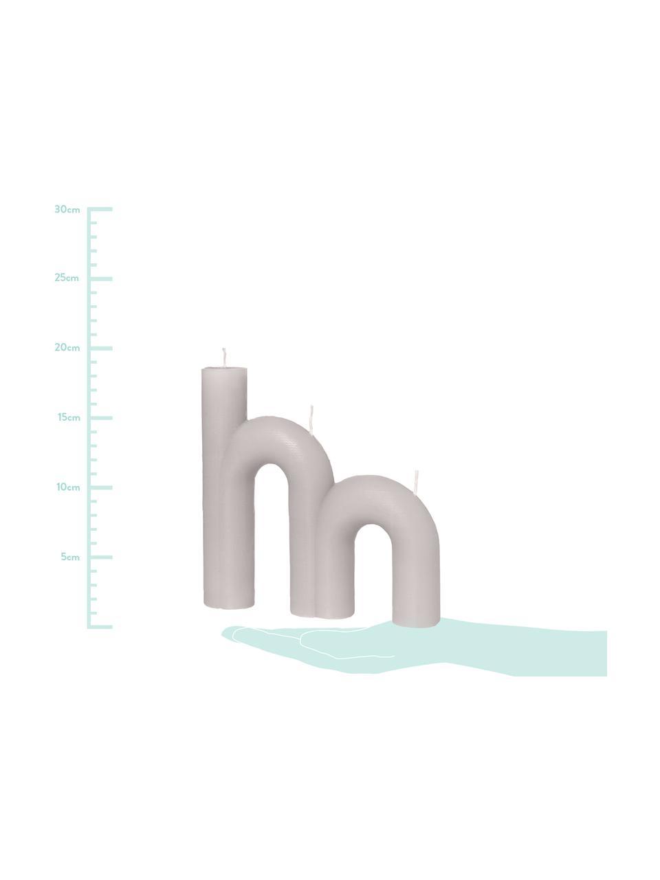 Dreidochtkerze Bend, Wachs, Grau, 21 x 20 cm