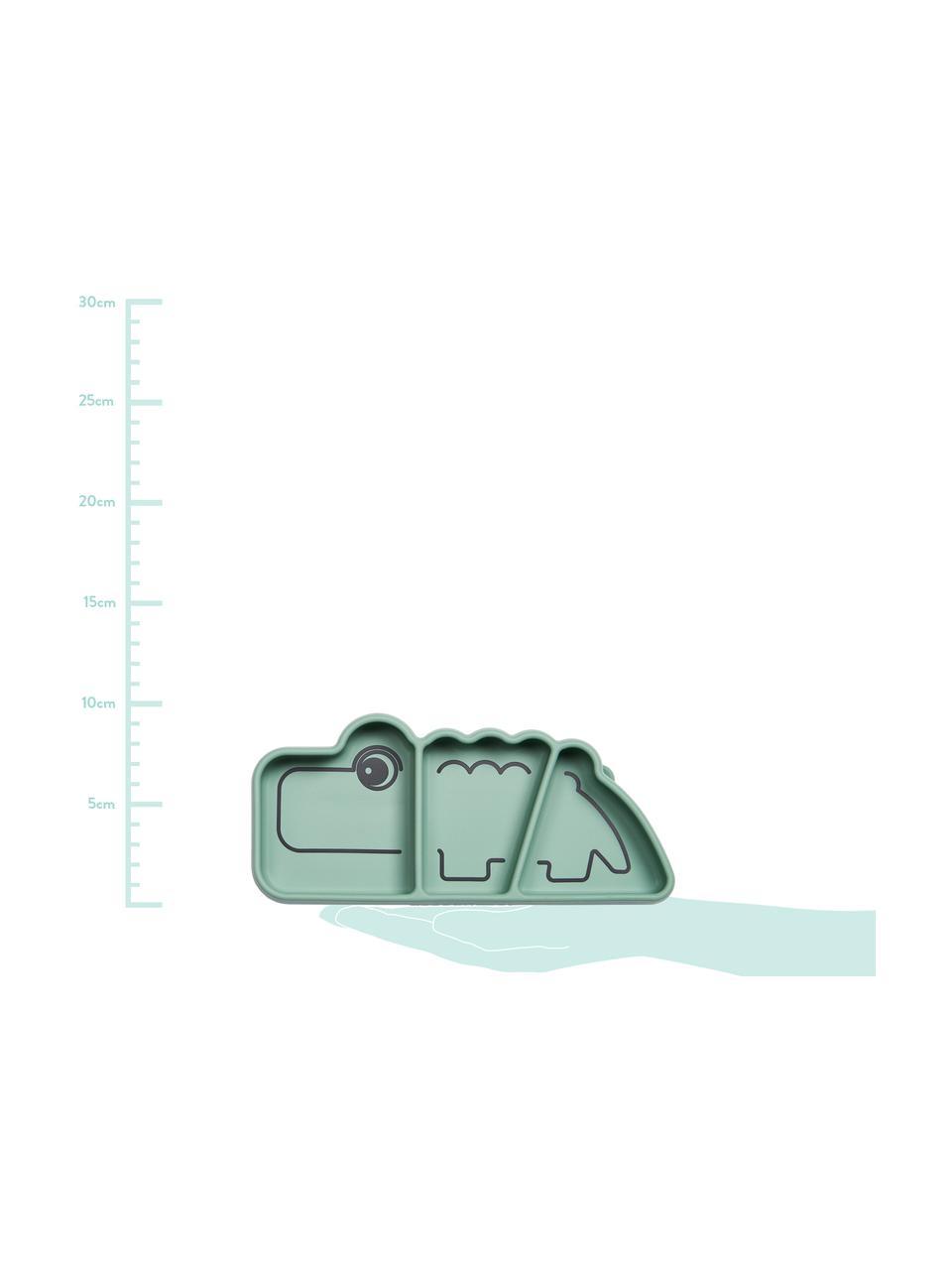 Snack-Teller Stick & Stay Croco, Silikon, lebensmittelecht Silikon ist weich und haltbar, hitzebeständig und für die Verwendung in Mikrowellen, Backöfen und Gefrierschränken geeignet., Grün, 21 x 3 cm