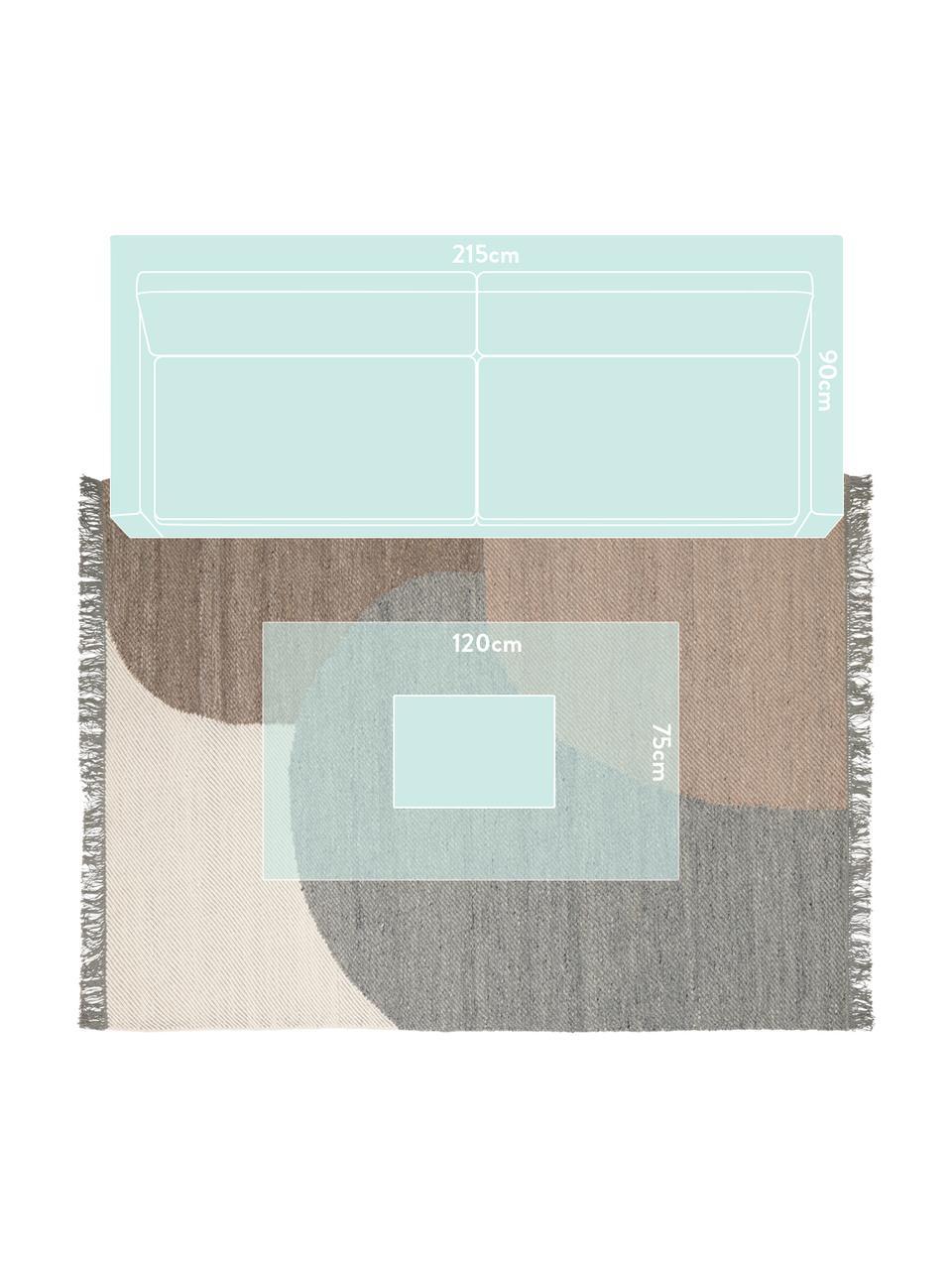 Handgewebter Wollteppich Eik, Fransen: 100% Baumwolle, Grau- und Beigetöne, B 200 x L 300 cm (Größe L)