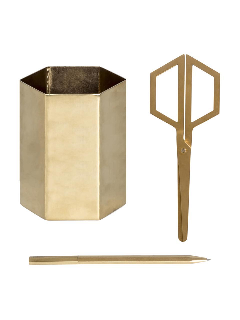Büro-Set Hex, 3-tlg., Edelstahl, beschichtet, Goldfarben, Sondergrößen