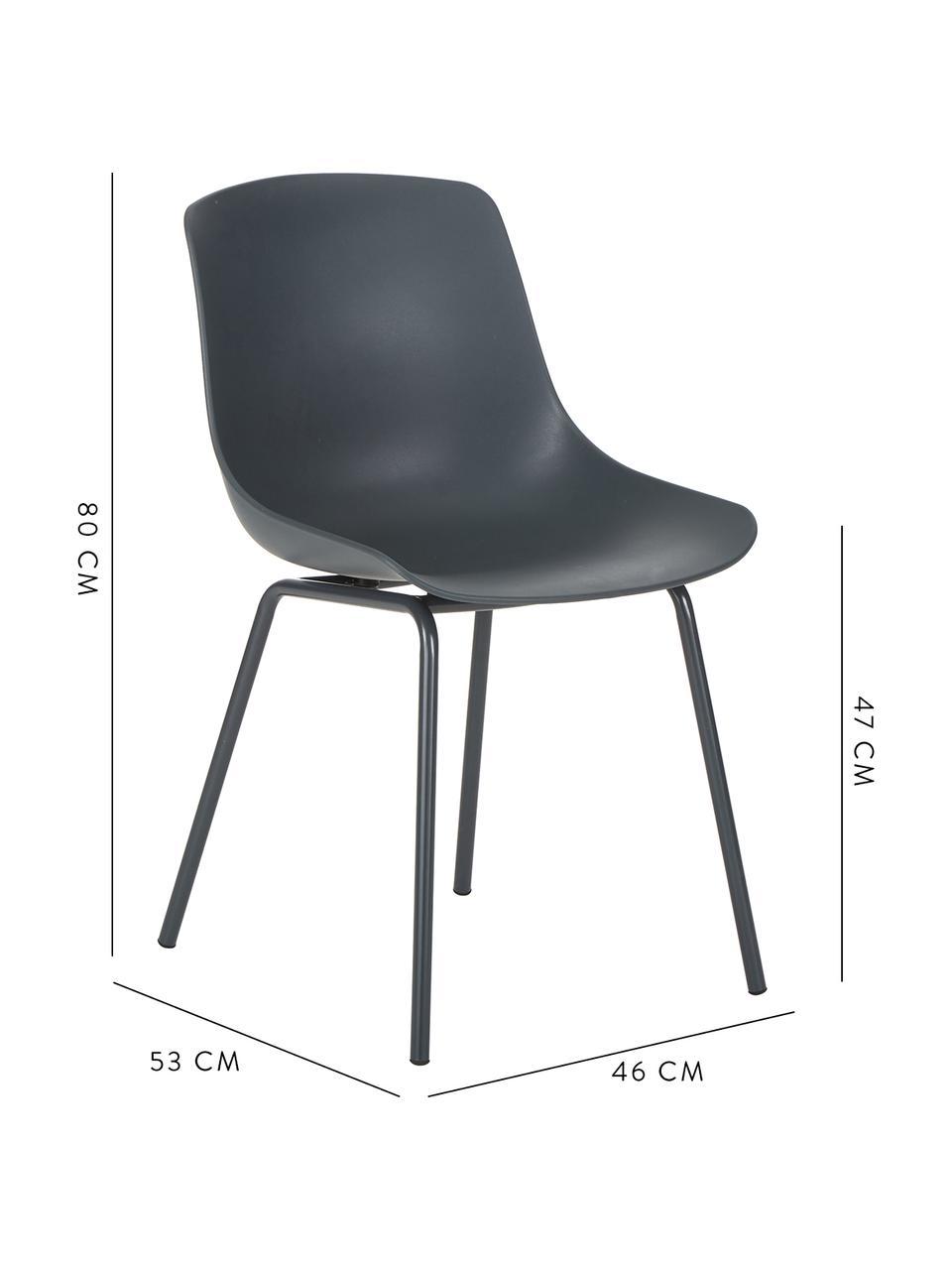 Chaise moderne Joe, 2pièces, Gris foncé