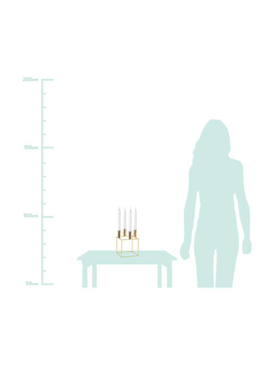 Świecznik Kubus, Stal, mosiądzowana, szczotkowana, Mosiądz, 14 x W 20 cm