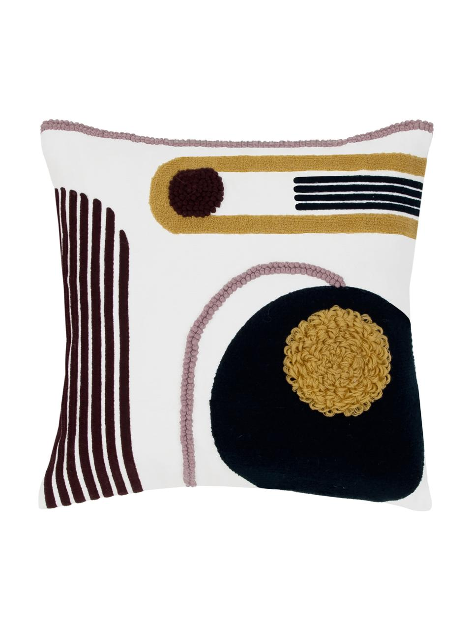 Kissenhülle Allard mit abstrakter Verzierung, 100% Baumwolle, Vorderseite: MehrfarbigRückseite: Weiß, 45 x 45 cm