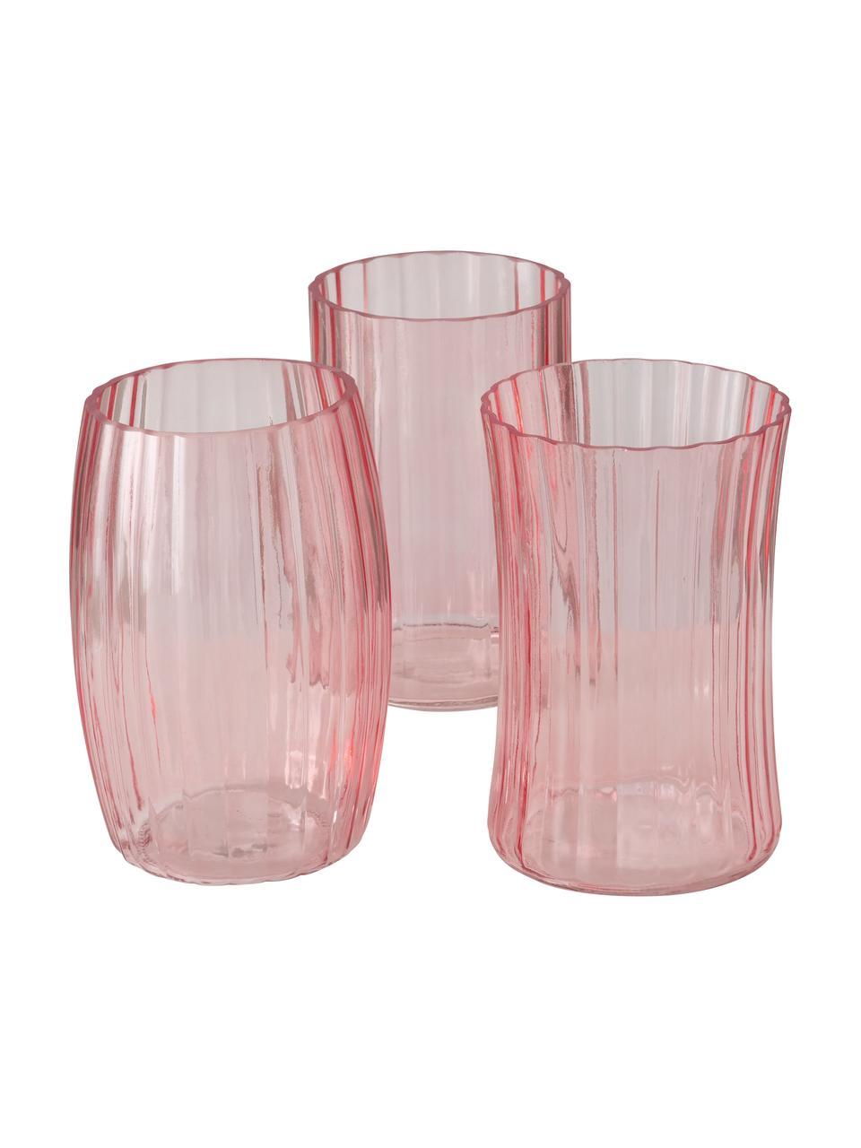 Vasen-Set Malinia, 3-tlg., Glas, Rosa, transparent, Ø 13 x H 19 cm