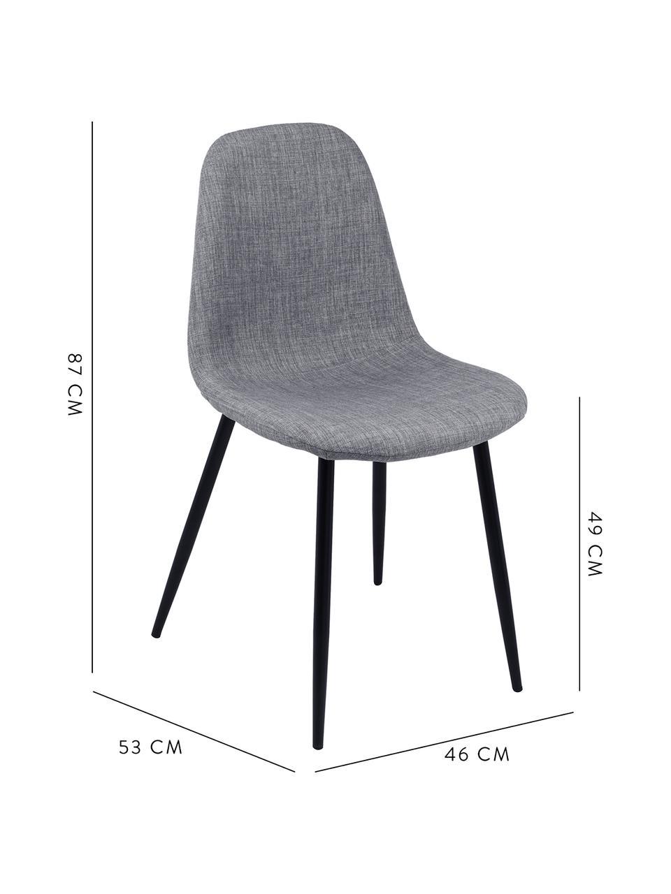 Polsterstühle Karla, 2 Stück, Bezug: 100 % Polyester, Füße: Metall, Webstoff Hellgrau, Beine Schwarz, B 44 x T 53 cm