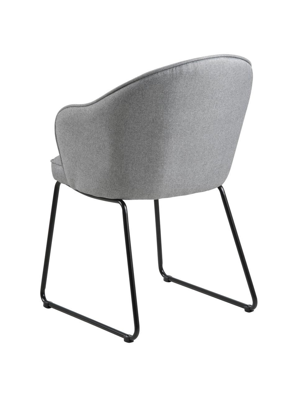 Chaise design Mitzie, Tissu gris clair, pieds noir