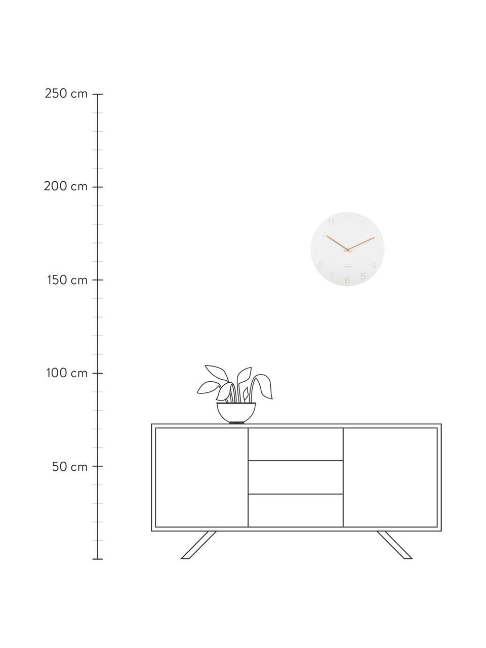 Wanduhr Charm, Metall, beschichtet, Weiß, Messingfarben, Ø 40 cm