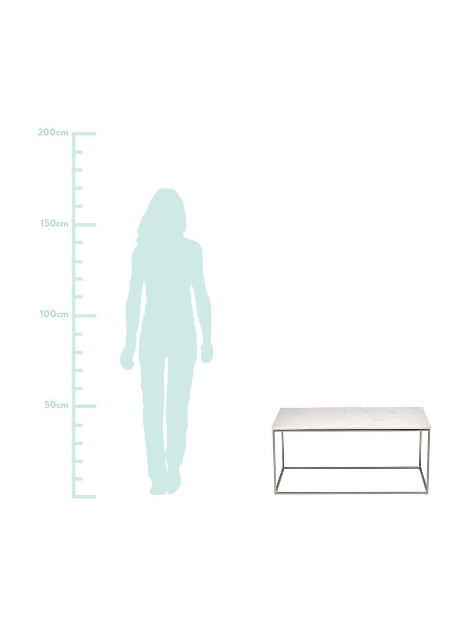 Marmor-Couchtisch Alys, Tischplatte: Marmor, Gestell: Metall, pulverbeschichtet, Tischplatte: weisser MarmorGestell: Silber, glänzend, 80 x 40 cm