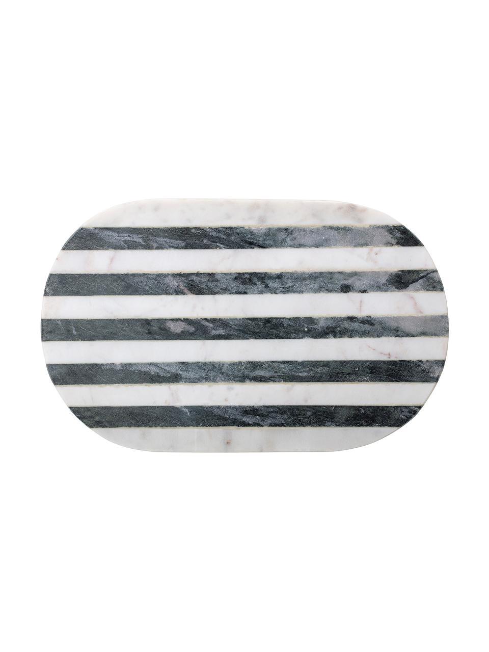 Marmor-Schneidebrett Stripes, B 23 x L 37 cm, Marmor, Schwarz, Weiß, 23 x 37 cm