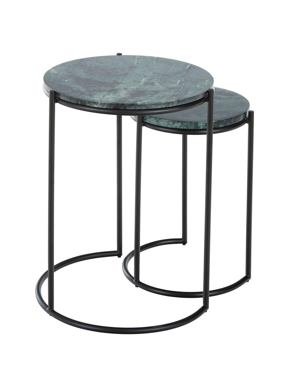 Marmor-Beistelltisch-Set Ella, 2-tlg., Tischplatten: Grüner MarmorGestelle: Schwarz, matt, Sondergrößen
