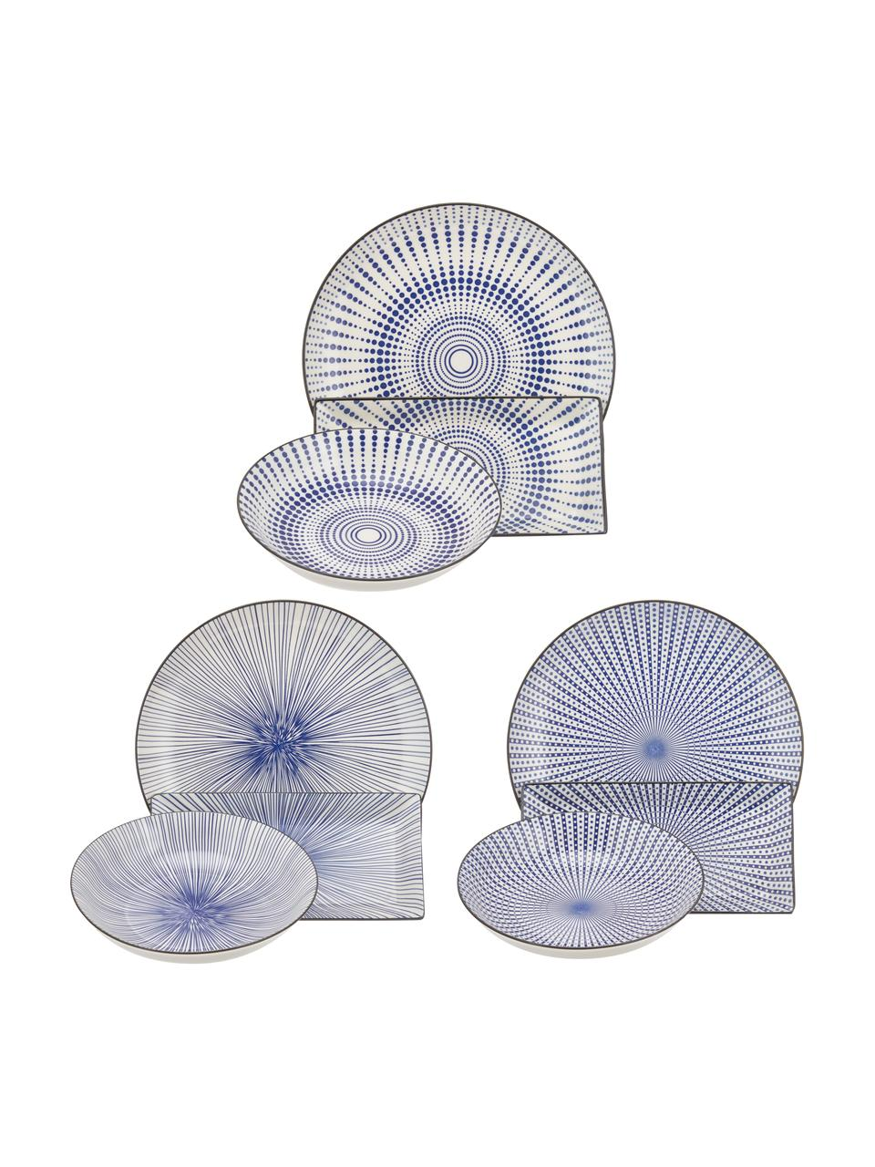 Set 18 piatti con motivo blu per 6 persone Skiathos, Terracotta, Tonalità blu, bianco latteo Bordi: antracite, Set in varie misure