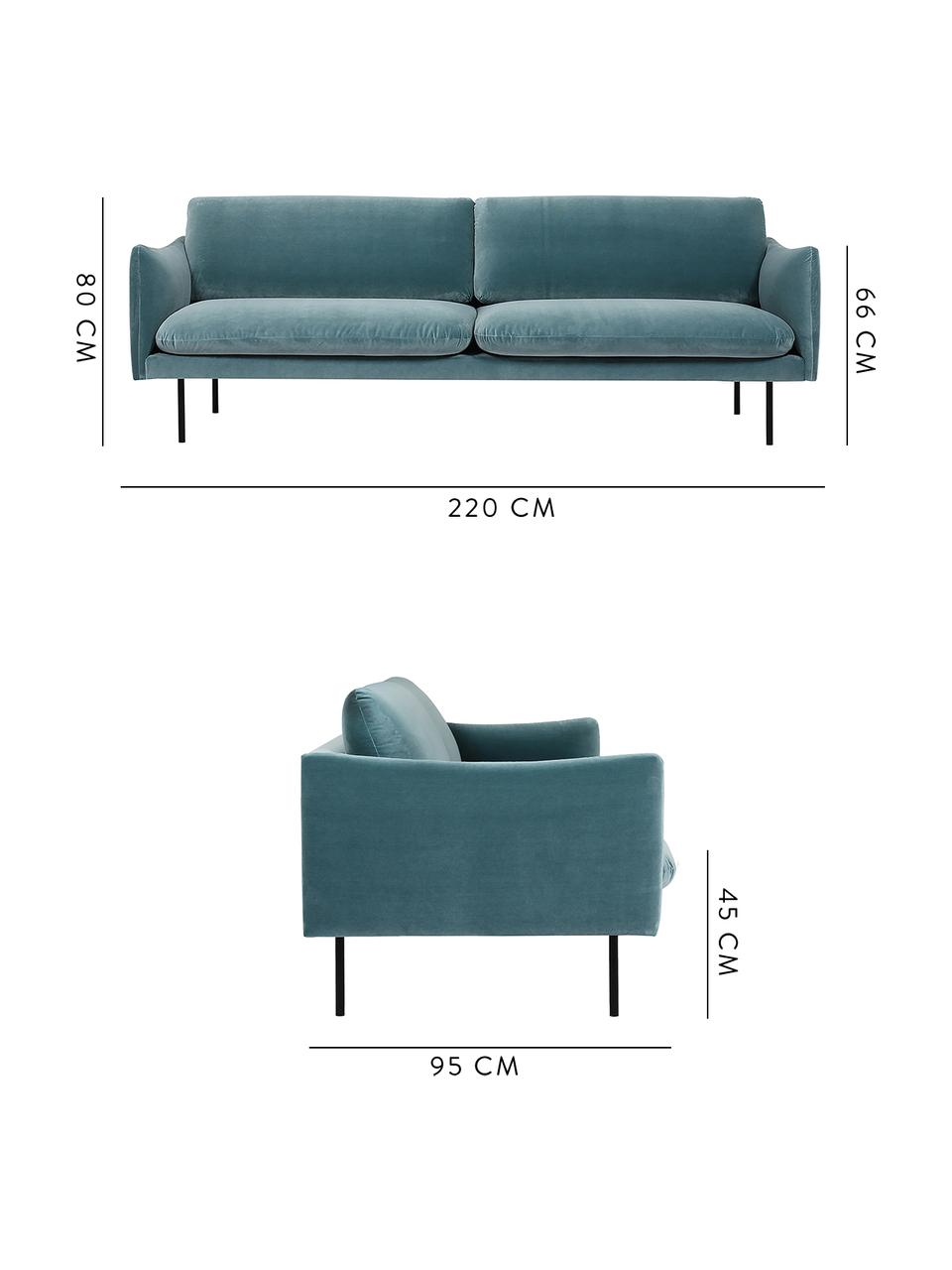 Canapé 3 places velours turquoise Moby, Velours turquoise