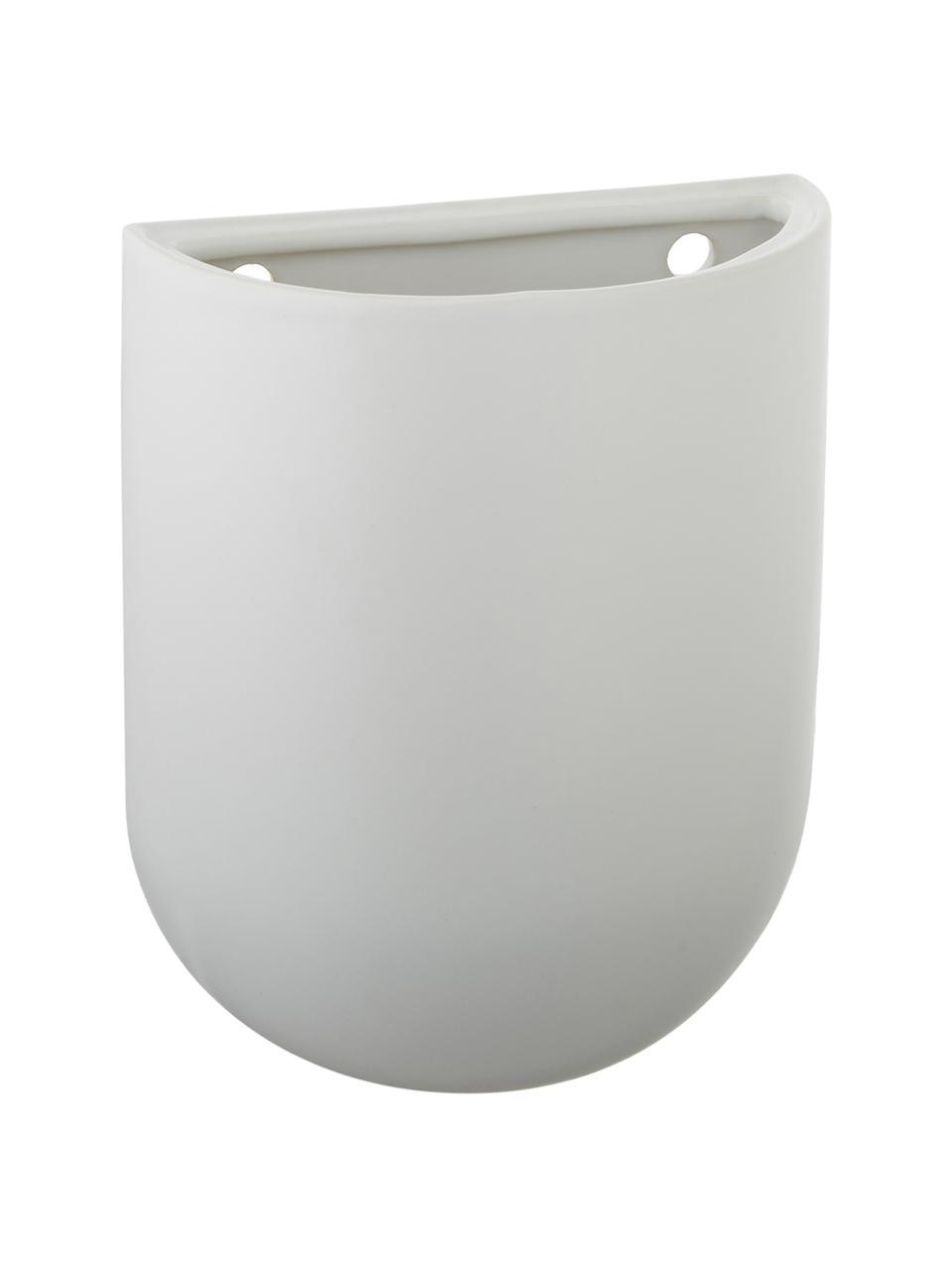 Wand-Übertopf Oval aus Keramik, Keramik, Weiß, 15 x 19 cm