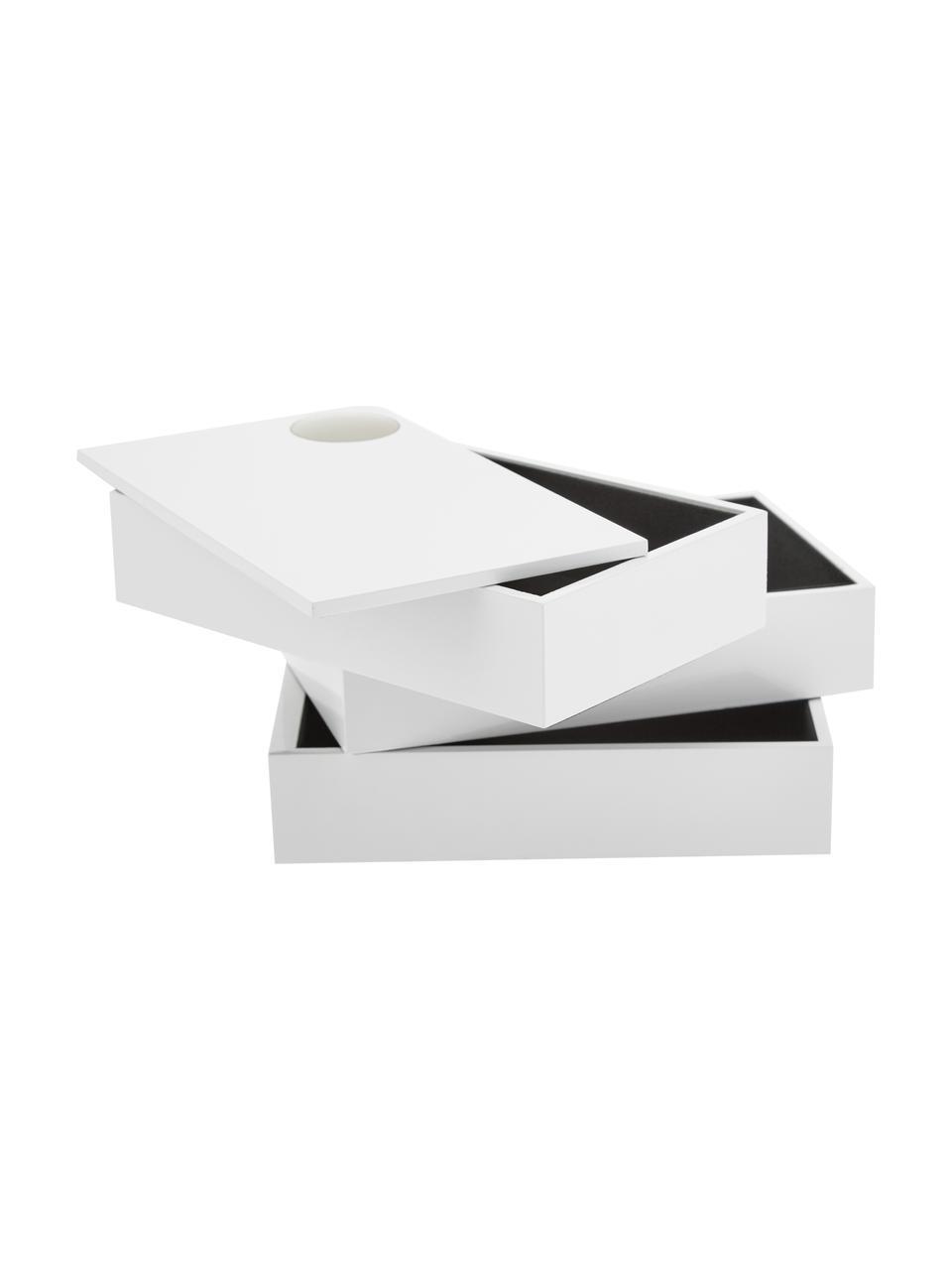 Portagioie Spindle, Legno di faggio, verniciato, Bianco, Larg. 19 x Alt. 13 cm