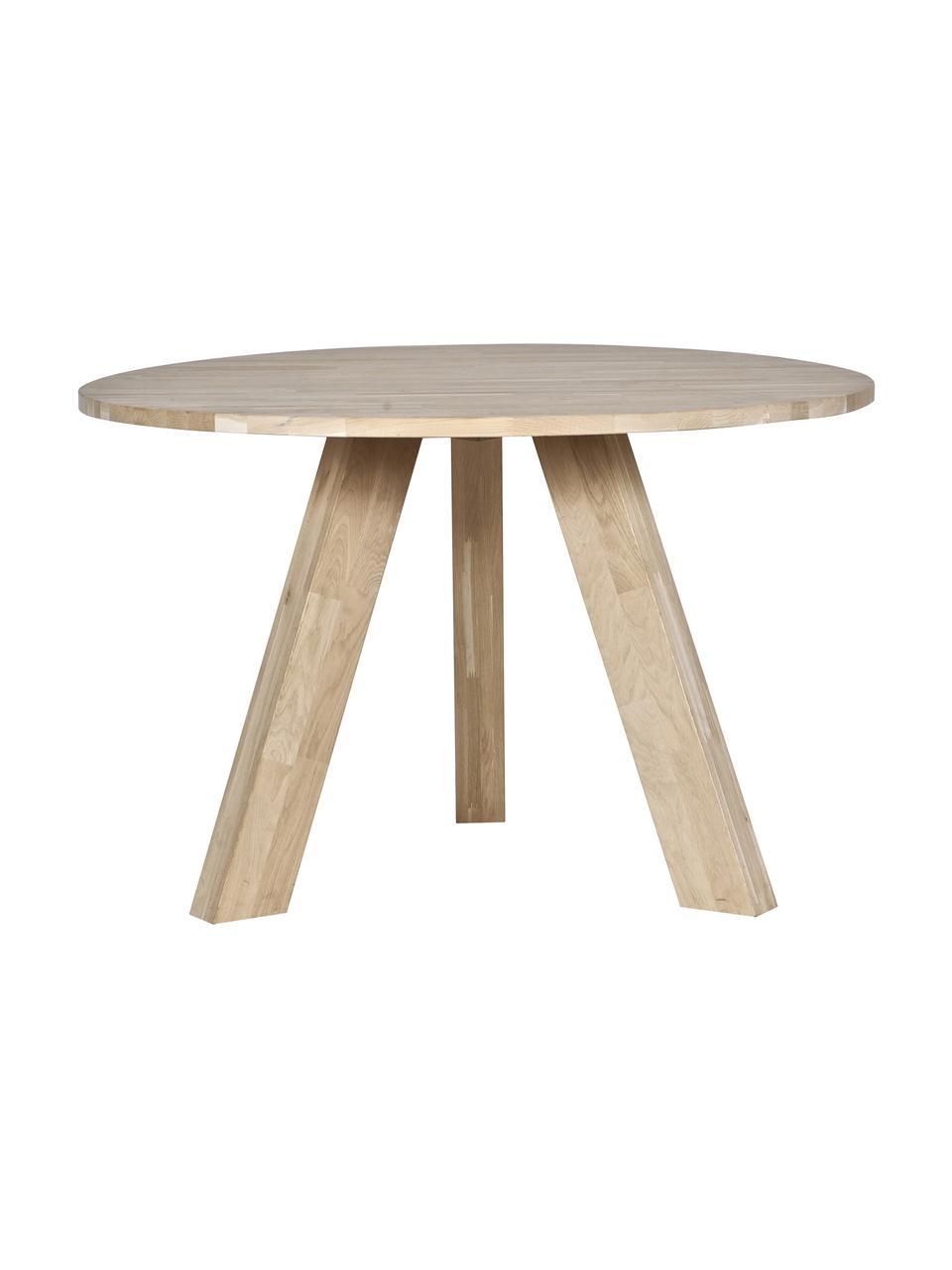 Runder Esstisch Rhonda aus Massivholz, Eichenholz, Eichenholz, Ø 129 x H 75 cm