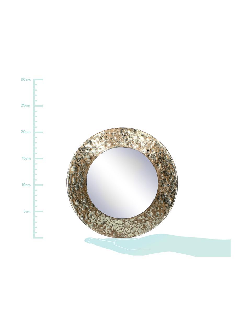 Ronde wandspiegel Fridy met messing lijst, Lijst: gecoat metaal, Messingkleurig, Ø 21 cm
