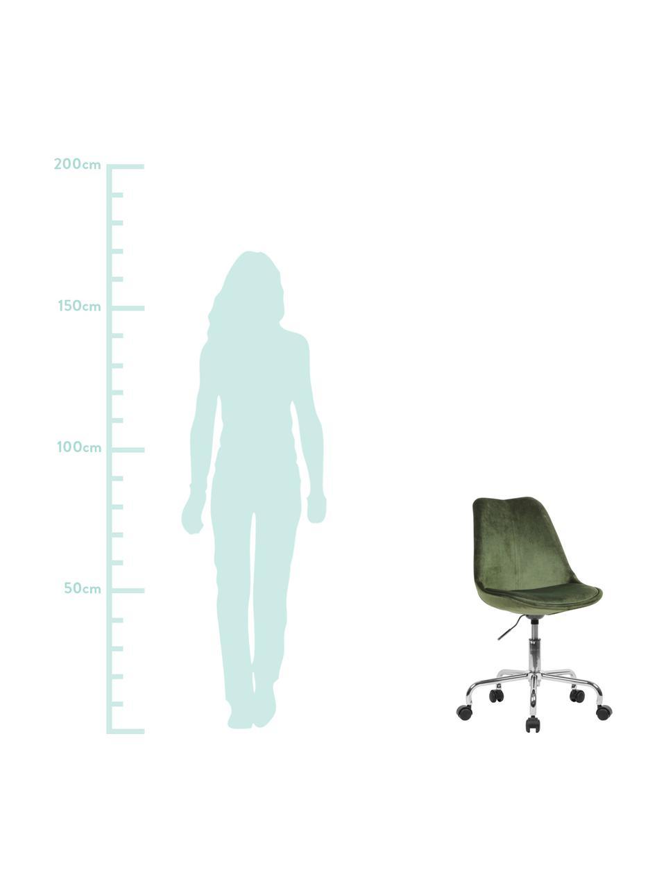 Fluwelen bureaustoel Lenka, in hoogte verstelbaar, Bekleding: fluweel, Frame: verchroomd metaal, Fluweel groen, B 65 x D 56 cm