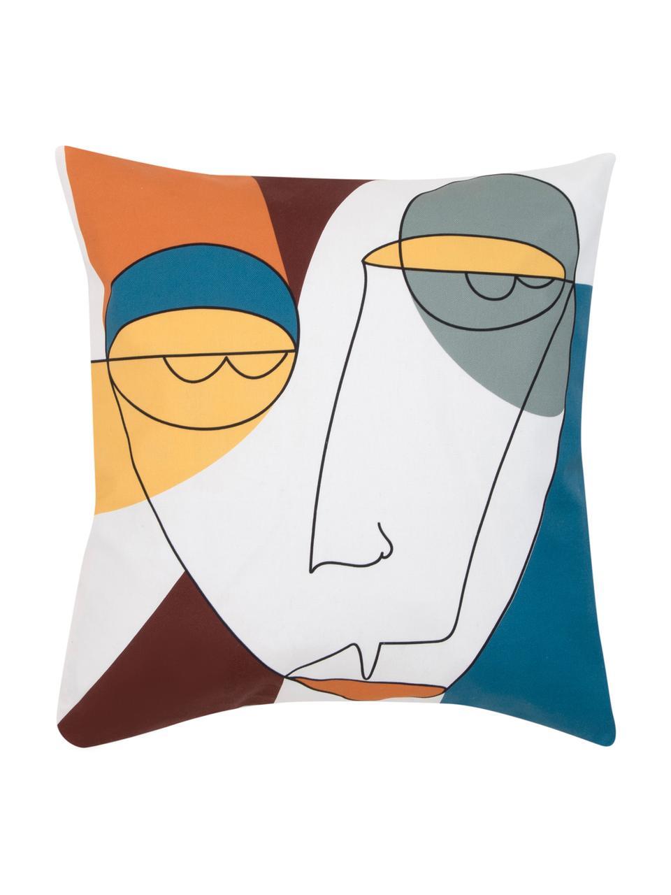 Kissenhülle Adrian mit abstraktem Print in Bunt, Webart: Panama, Weiß, Mehrfarbig, 40 x 40 cm