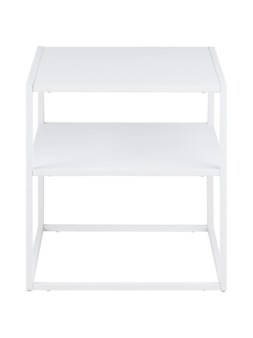 Tavolino in metallo bianco Newton, Metallo verniciato, Bianco, Larg. 45 x Prof. 40 cm