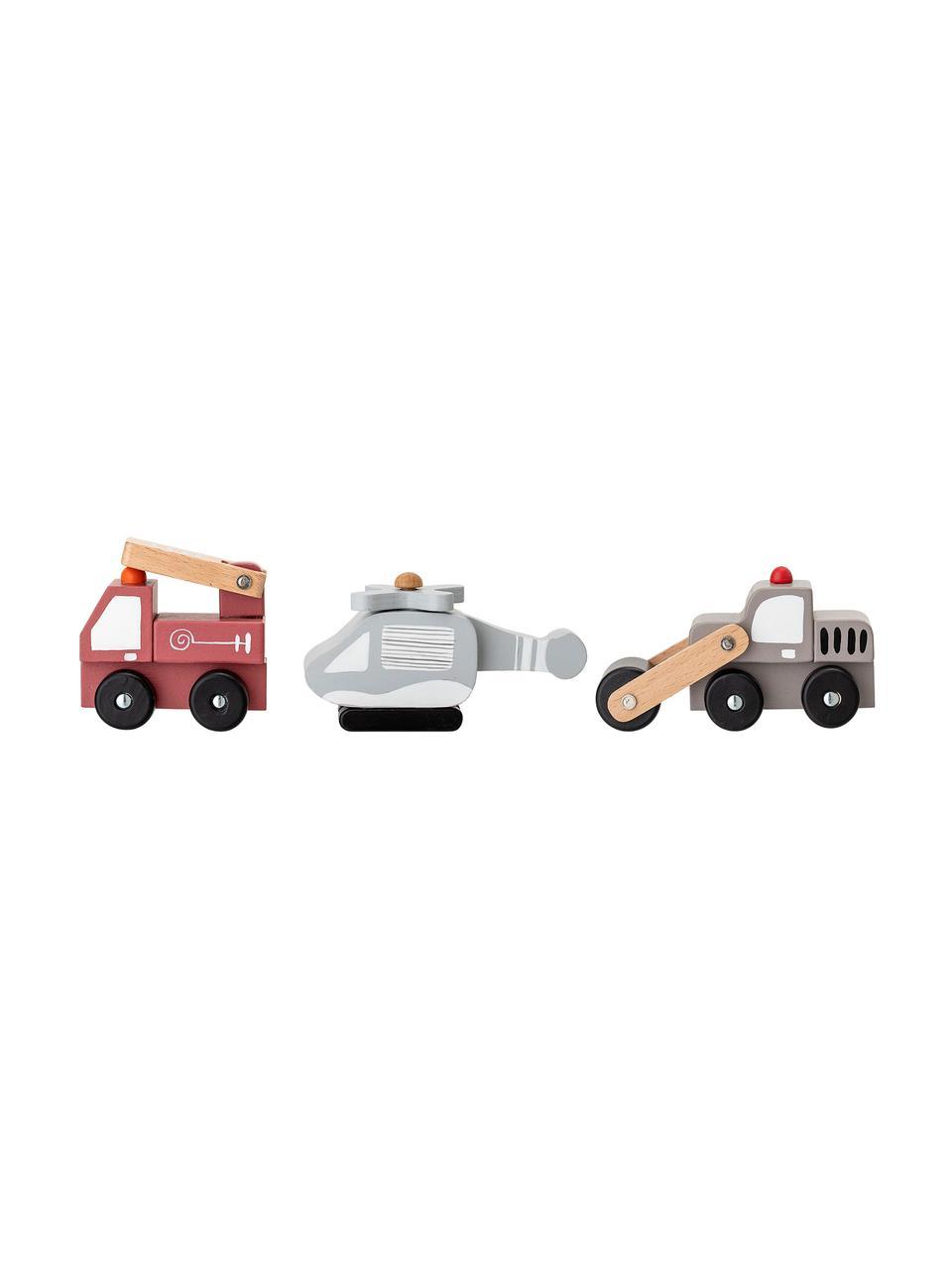 Spielzeugauto-Set Bruno, 3-tlg., Mitteldichte Holzfaserplatte (MDF), Schichtholz, Metall, Mehrfarbig, Sondergrößen