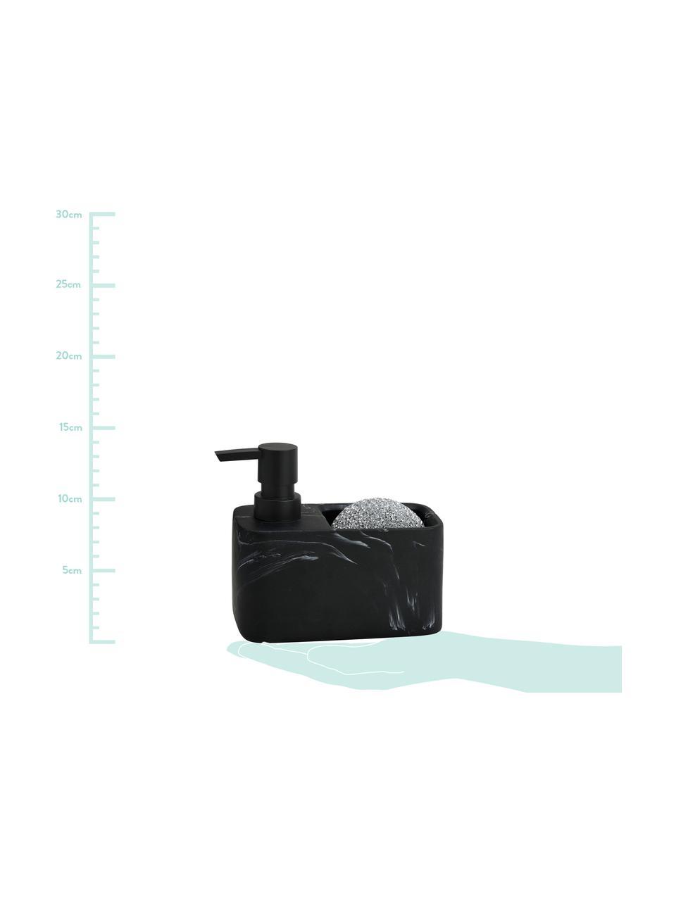 Seifenspender Galia in Marmoroptik mit Schwamm, 2er-Set, Behälter: Polyresin, Pumpkopf: Kunststoff, Metallschwamm: Metall, Schwarz, marmoriert, Silberfarben, 15 x 14 cm