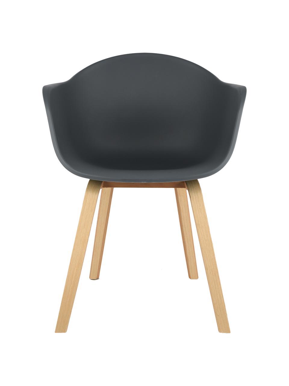 Sedia con braccioli e gambe in legno Claire, Seduta: materiale sintetico, Gambe: legno di faggio, Seduta: grigio scuro Gambe: legno di faggio, Larg. 60 x Alt. 54 cm