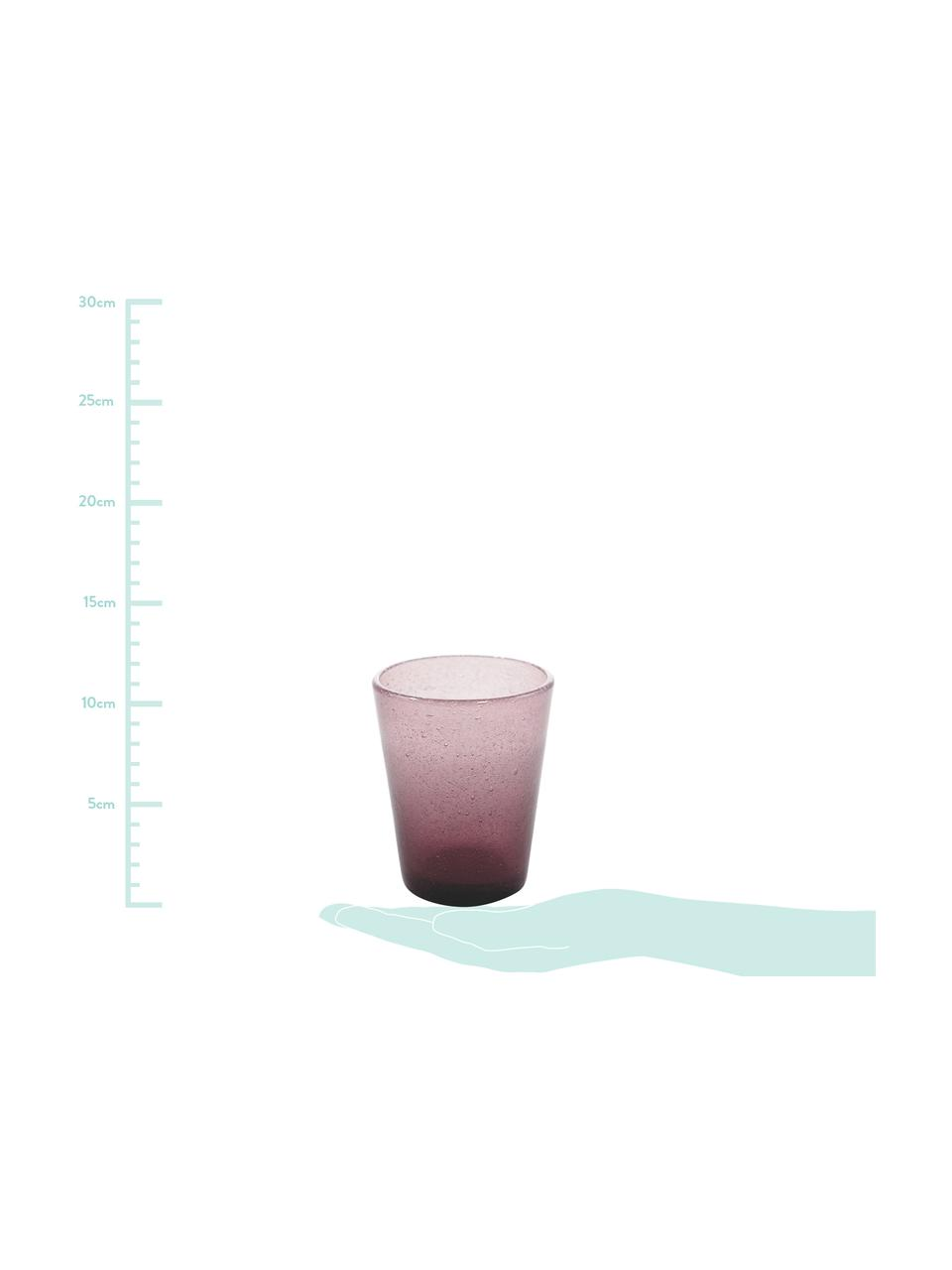 Mundgeblasene Wassergläser Cancun in Lila mit Lufteinschlüssen, 6 Stück, Glas, mundgeblasen, Lila, Ø 9 x H 10 cm